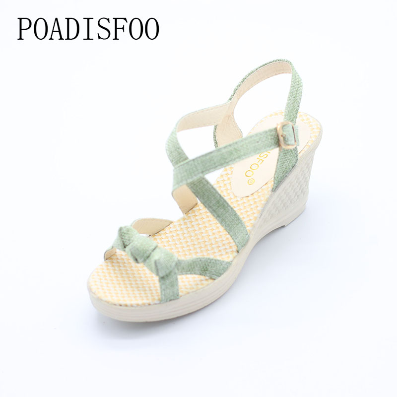 POADISFOO Women Sandals Summer New Vintage Style Gladiator Platform Wedges Shoes Woman Beach Flip Flops Bohemia Sandal .QCLR-PU2 wedges gladiator sandals 2017 new summer platform slippers casual bling glitters shoes woman slip on creepers