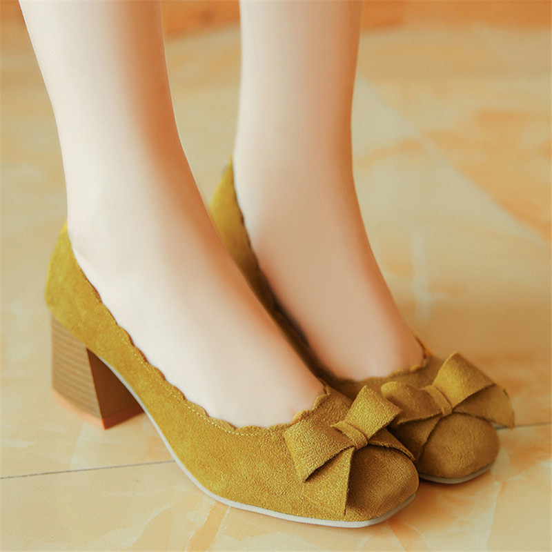 Women Pumps Spring Autumn 6cm High Heels OL Shoes Elegant Sweet Bow Thick Heeled Shallow Square Heel Flock Suede Single Shoes