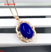 KJJEAXCMY boutique jewelry s925 rose gold plated pink gold natural Afghanistan old lapis lazuli pendant