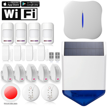 Chuangkesafe Sirena Solar W1 WiFi APP teléfono PSTN Sistema de Alarma Antirrobo de Control remoto para la Seguridad Casera 315 Kits