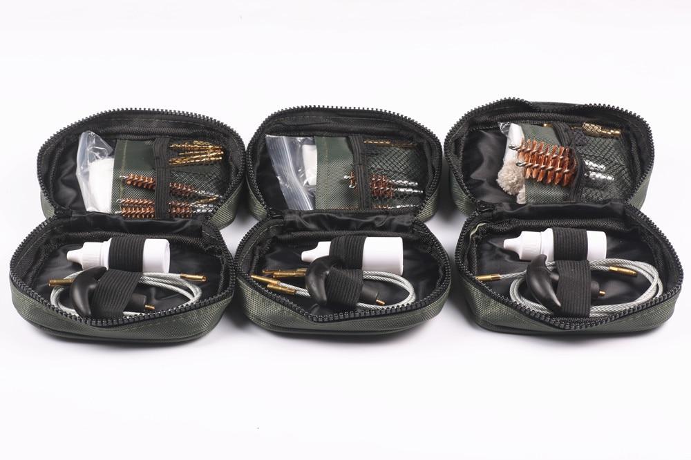 1 Set Gun Pistol Cleaning Kit Nylon Bag Rod Brush Gun cleaning for Universal 12ga 20ga .22cal.17cal .223/5.56 Rifle Cleaning цены онлайн