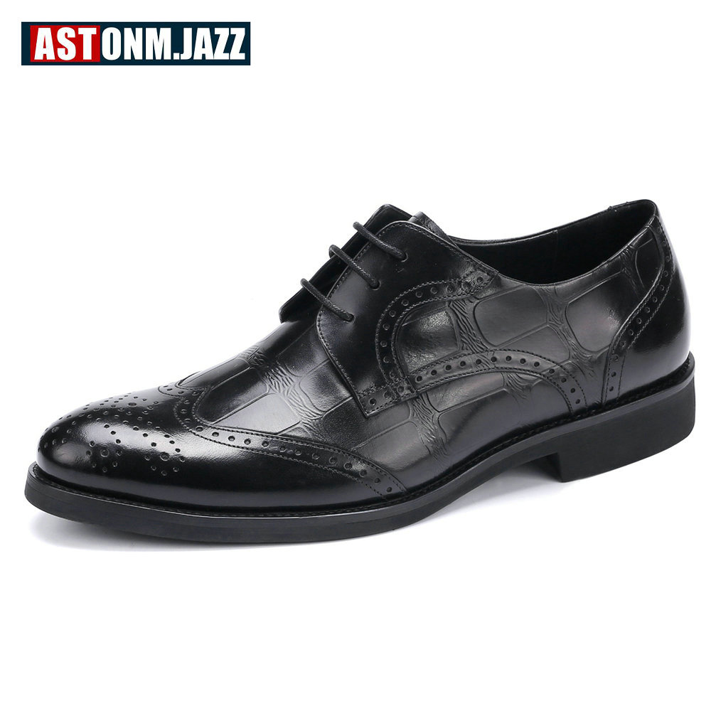 Men's Wedding Dress Shoes Casual Crocodile Genuine Leather Oxfords Shoes Bussiness Brogues Shoes Moccasins For Men Branded Shoes branded men s penny loafes casual men s full grain leather emboss crocodile boat shoes slip on breathable moccasin driving shoes