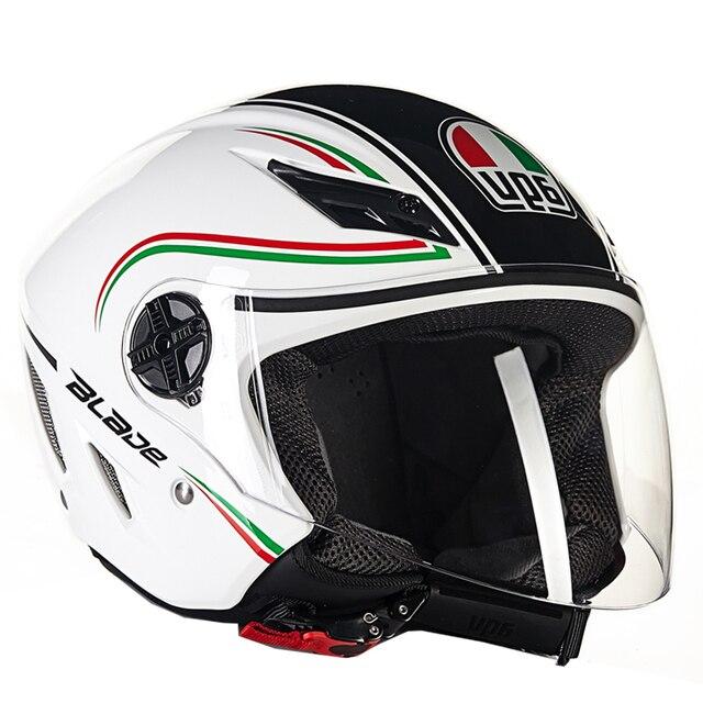 Italy marca original agv motocicleta equitação proteção capacete aberto da  cara metade capacete de corrida de b4326595c15