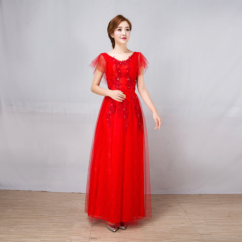U-SWEAR 2019 New Arrival Women Red   Bridesmaid     Dresses   Soft Mesh Ruffle Backless Pearls Beaded Lace   Bridesmaid     Dresses   Vestidos