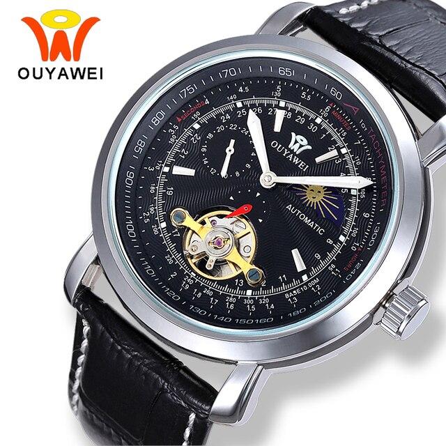 f319ac23216 OUYAWEI Mecânica Tourbillon Fase Da Lua Relógios Homens Auto Enrolamento Automático  Transparente Caso de Prata De