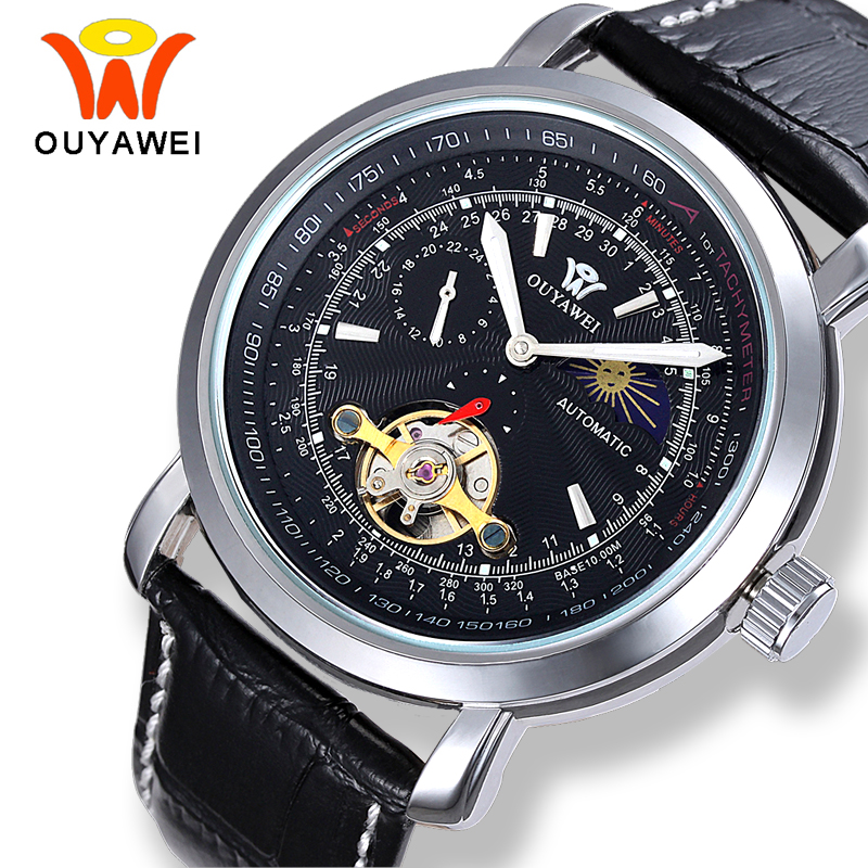 OUYAWEI Mechanical Tourbillon Moon Phase Watches Men Self Winding Transparent Automatic Black Leather Silver Case Watch for Men cjiaba gk8001 sw pu leather band skeleton self winding mechanical wrist watch for men black