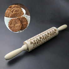 Dough-Roller Rolling-Pin Pastry-Roll Cake Fondant Reindeer Patterned Biscuit Cookies