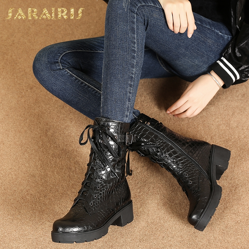 SARAIRIS dropship natural cow leather genuine leather stone print buckle women's Boots Shoes Martin Boots Shoes Woman