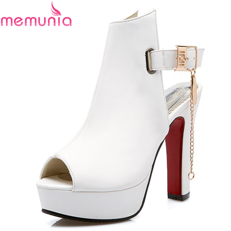 MEMUNIA New peep toe slingback women sandals thick high heels buckle high heels platform fashion sandals ladies female shoes han edition diamond thick bottom female sandals 2017 new summer peep toe fashion sandals prevent slippery outside wear female