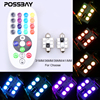POSSBAY Remote Control 31mm 36mm 39mm 41mm RGB 5050 SMD LED License Car Plate Interior Dome