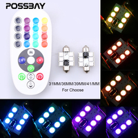 POSSBAY Remote Control 31mm 36mm 39mm 41mm RGB 5050 SMD LED License Car Plate Interior Dome