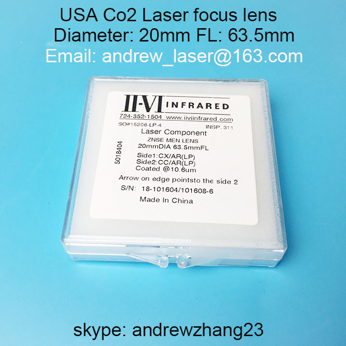 ФОТО  USA II VI Co2 laser focus lens Meniscus  Diameter 20mm focal length 63.5mm for CMA/glorystar/beyond Co2 laser cutting machine