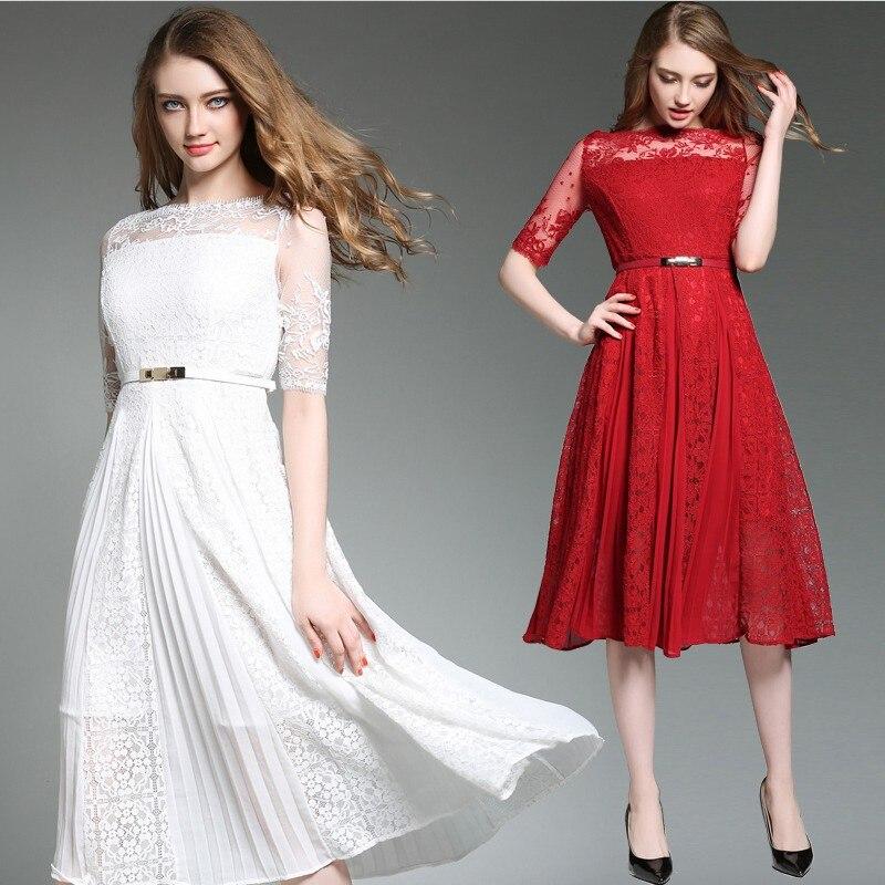 2018 nouveau été femme vintage dentelle mousseline de soie robe blanc rouge taille haute demi manches plissée mode broderie S-2XL élégant sexy