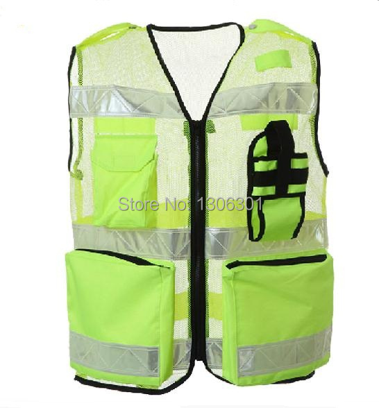 Fluorescent Yellow Mesh /Oxford Cloth Reflective Safety Vest Clying Reflective Warning Clothing fluorescent 3 mode yellow led luminous pet dog collar fluorescent yellow