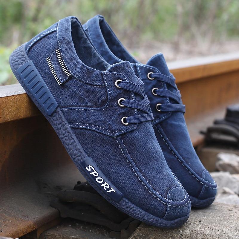 b777899b6 Мужская парусиновая обувь с низким берцем потертые джинсовые повседневная обувь  кеды кроссовки мужская обувь для вождения эспадрильи лона Zapatillas ...