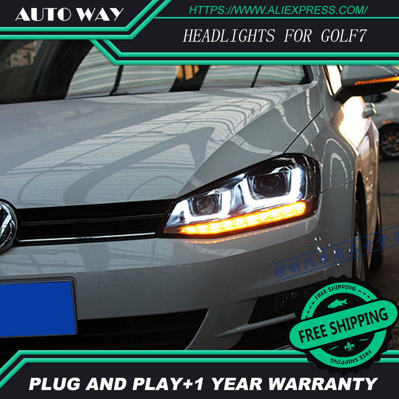 Car Styling Head Lamp for VW GOLF 7 MK7 GOLF7 2014 Headlights LED Headlight DRL Daytime Running Light Bi-Xenon Lens HID Double hireno headlamp for volkswagen golf7 golf 7 mk7 2014 headlight headlight assembly led drl angel lens double beam hid xenon 2pcs
