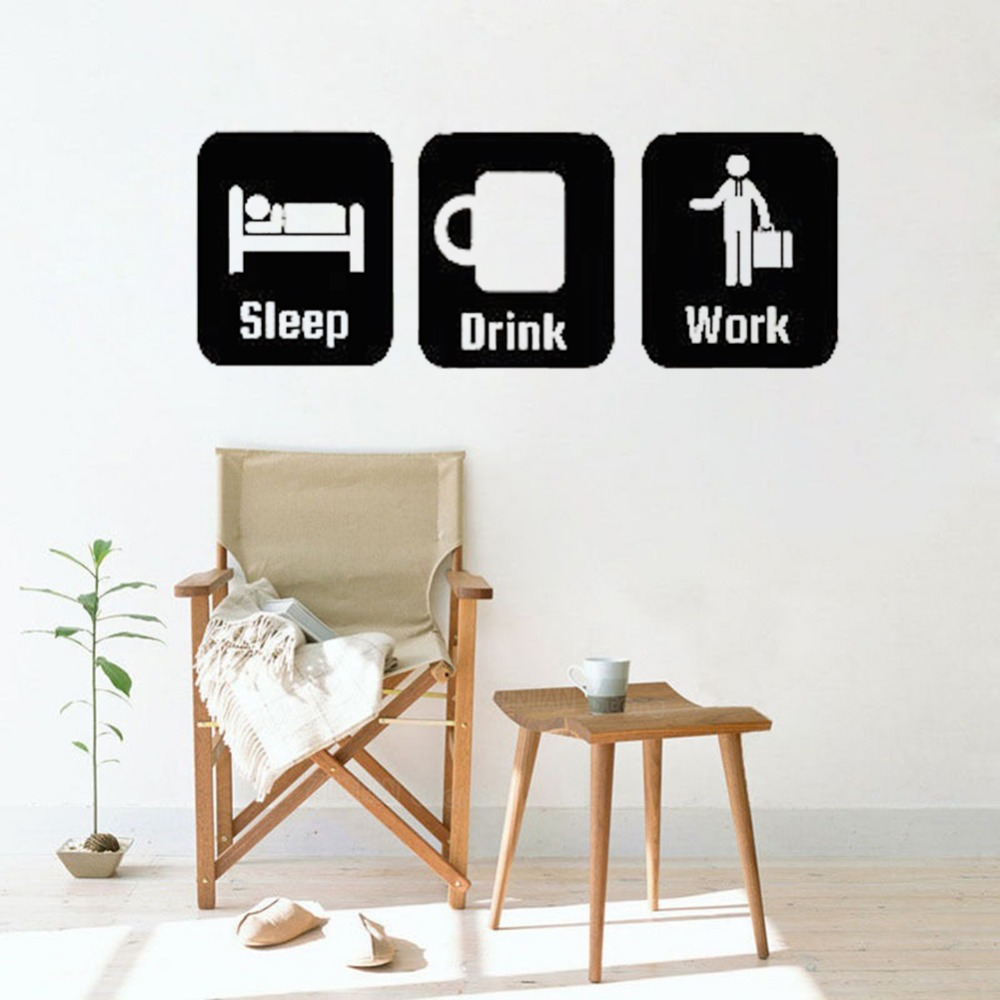 Office Wall Decor Sleep Drink Work Wall Stickers Living Room Home Decorate Coffee Cup Vinyl Decals Removable Modern Mural S566