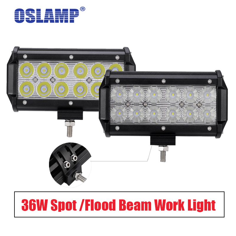 Oslamp 36W Work Light 4x4 Offroad Driving Spot Flood Beam LED Light 6000K SUV ATV Car Work Lights for lamp 12 24V 1pc 4d led light bar car styling 27w offroad spot flood combo beam 24v driving work lamp for truck suv atv 4x4 4wd round square