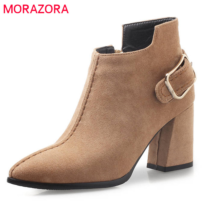 MORAZORA 2018 new arrival flock ankle boots women pointed toe autumn winter boots fashion square high heels boots dress shoes цены