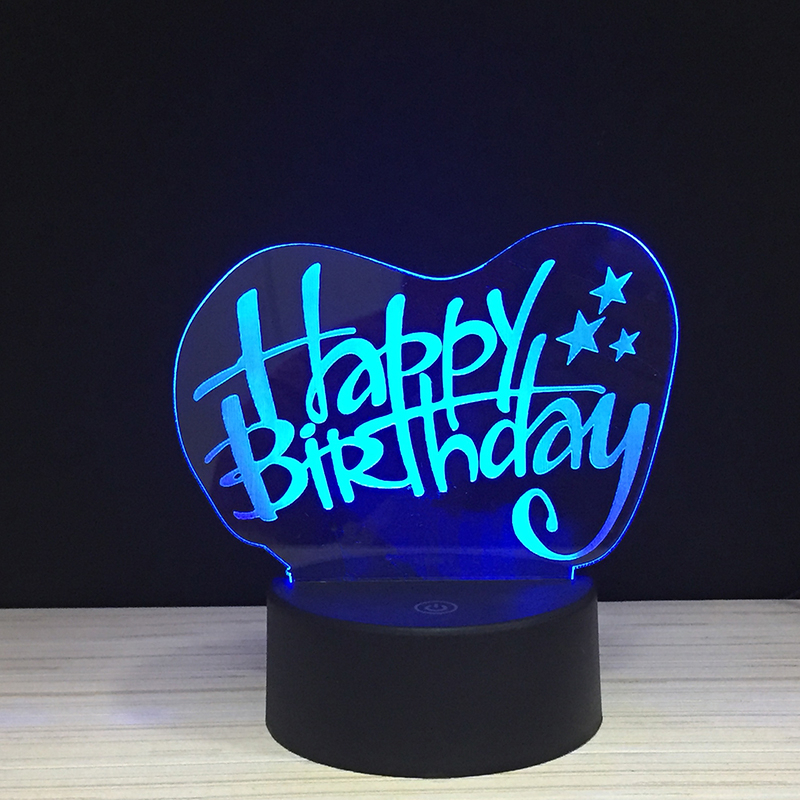 The Happy Birthday colorful 3D Light touch acrylic lights LED 7 colors B-day present Night lamp remote control lighting giftsThe Happy Birthday colorful 3D Light touch acrylic lights LED 7 colors B-day present Night lamp remote control lighting gifts