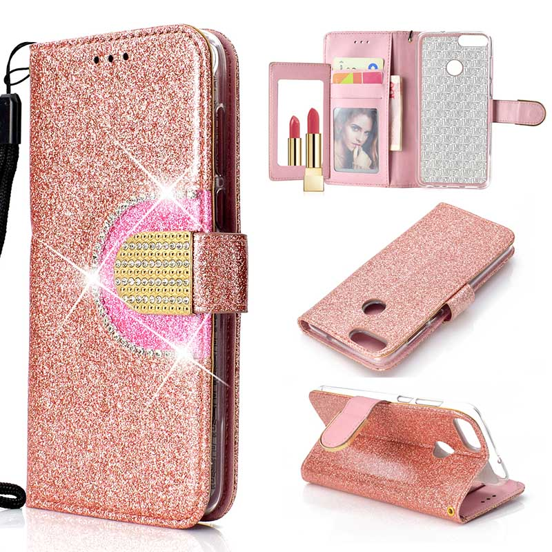 Bling Glitter Wallet Case For Huawei Honor 10 Lite 9 Lite 7A 7C Diamond Flip Mirror Cover For Huawei P Smart Y6 Y7 2018 Coque