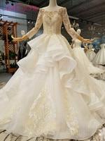 AXJFU Luxury princess boat neck golden lace wedding dress vintage turkey beading flower wedding dress 100% real photo 224445