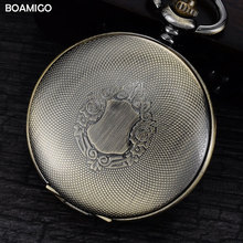 men mechanical watches antique pocket skeleton watches Roman numbers analog display copper chain BOAMIGO hot gift reloj hombre
