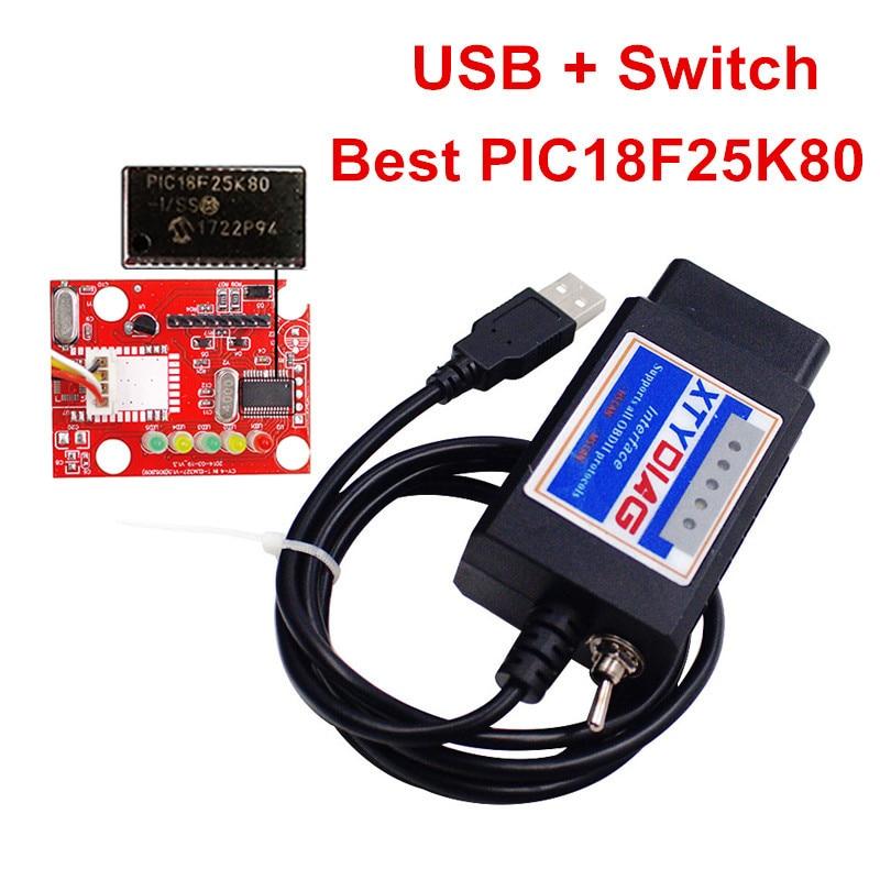ELM327 USB HS MS Switch OBDII Scanner ELM 327 V1.5 OBD2 Scan Tool Plastic ELM327 Support All OBDII Protocols PIC18F25K80+FTDI