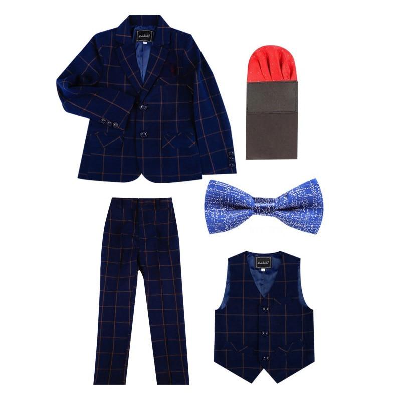 2019 Kinder Plaid Hochzeit Blazer Anzug Marke Blume Jungen Formale Klavier Leistung Smoking Schule Anzug Kinder Frühling Kleidung Set L9 Die Neueste Mode
