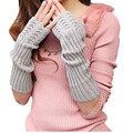 Brand Knitted Faux Fur Del Women Of Cold Winter Arm Sleeve Fingerless Gloves Solid Long Knitted Glovesmangotes Cycling