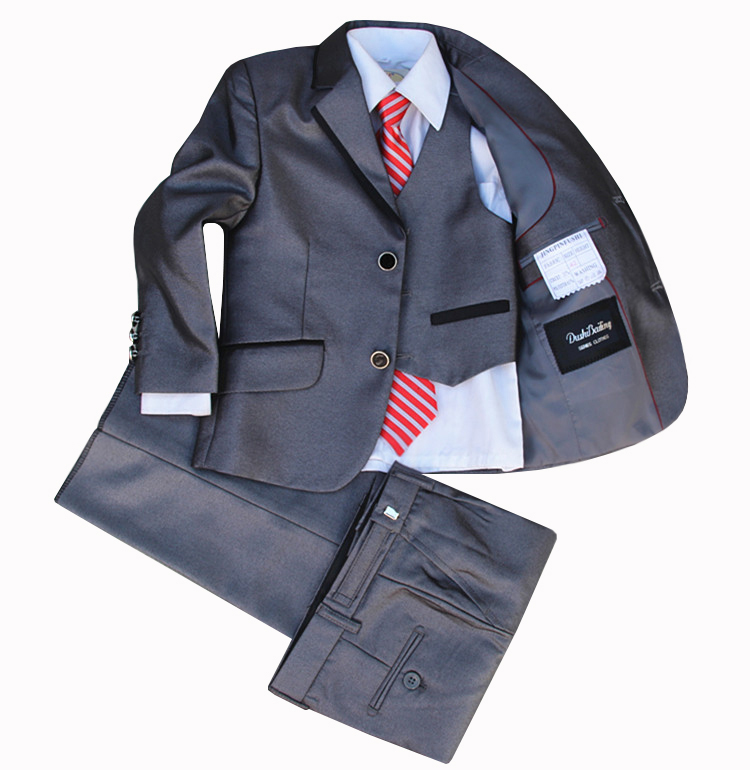 (Jackets+Vest+Pants+Tie+Cravat) Boy Suits Flower girl Slim Fit Tuxedo Brand Fashion Bridegroon Dress Wedding Grey Suit Blazer3