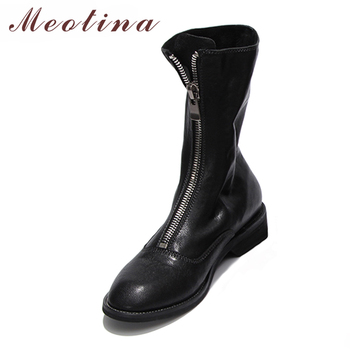 Meotina Mid Calf Boots Sheepskin Women Winter Boots Front Zipper Natural Leather Female Ladies Shoes Red Black Plus Size 33- 43