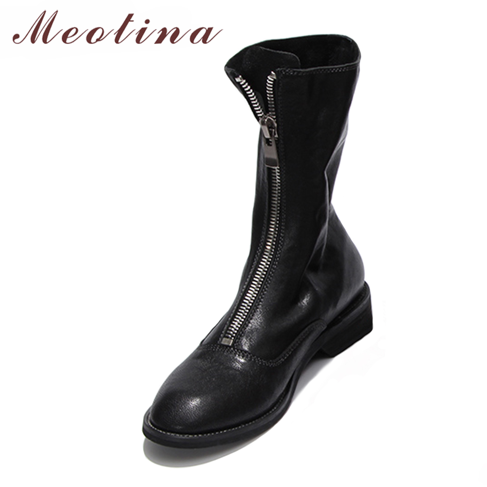 Meotina Mid Calf Boots Sheepskin Women Winter Boots Front Zipper Natural Leather Martin Ladies Shoes Red Black Plus Size 33- 43 цена