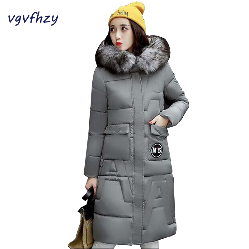 New 2017 Winter Coat Women Long Cotton Jacket Slim Parkas Ladies Warm Fur Collar Hooded Padded Jackets Plus size Wadded Coat winter women outwear long hooded cotton coat faux fur collar plus size parkas wadded slim jacket warm padded cotton coats pw0997