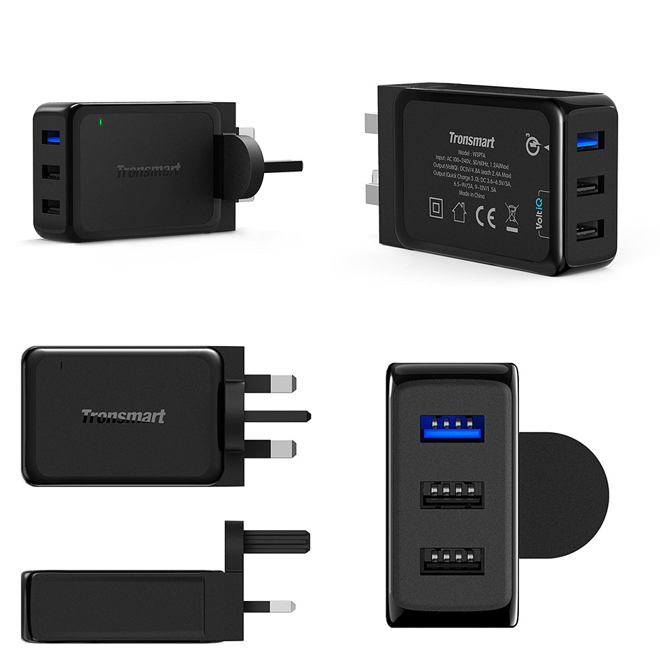 Tronsmart W3PTA USB Charging Qualcomm Certified Quick Charge 3.0 QC3.0 USB Smart Charger 3