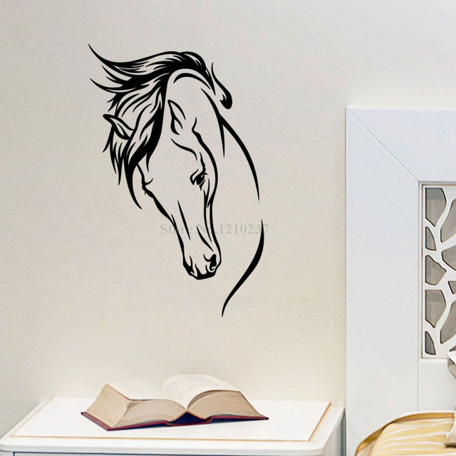 DCTOP Hot Sale Vinyl Removable Wall Decal Head Of Horse Murals Living Room Decorative Animal Home Sticker