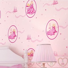 Free Shipping High Grade Green Paper Wallpaper Pink Disney Princess Bedroom Romantic Girl Children