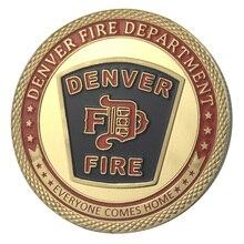 Поставка золотое покрытие город Денвер пожарный отдел вызов монета/медаль 1334