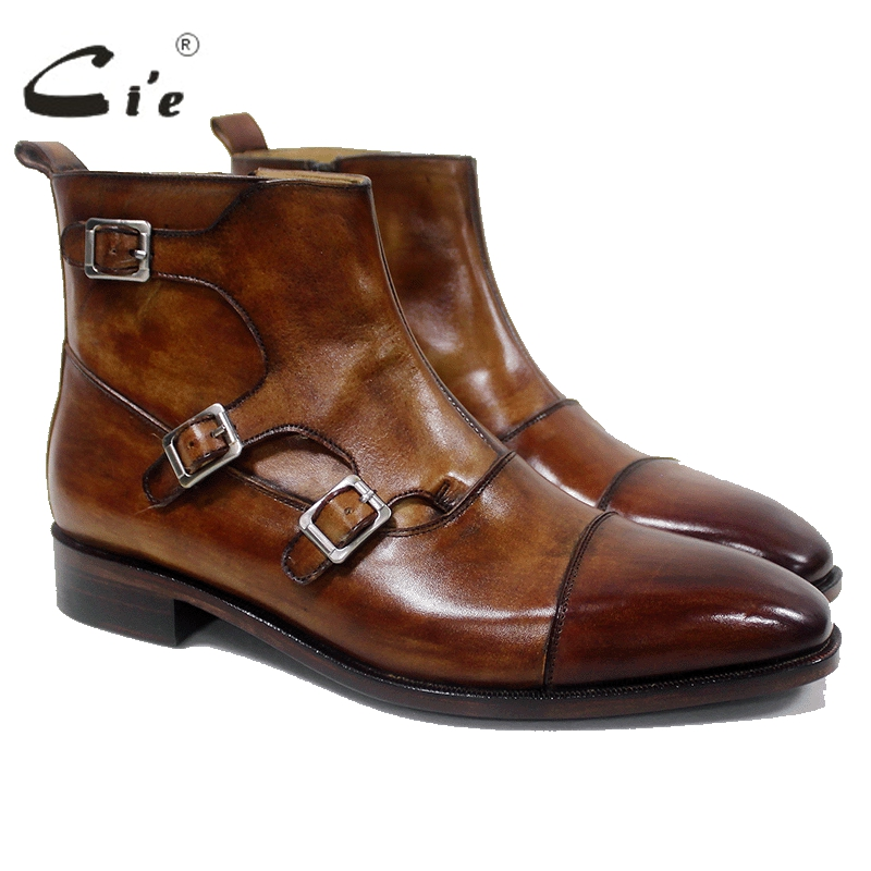 Cie Patina Brown Genuine Calf Leather Breathable Square Captoe Buckle Zipper Handmade Mackay Stitching Leather Men's BootA-00-16