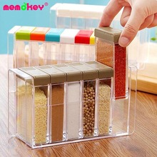 Memokey Spice Jar Seasoning Box Kitchen spice rack Storage Bottle Jars Transparent PP Salt Pepper Cumin Powder tool C