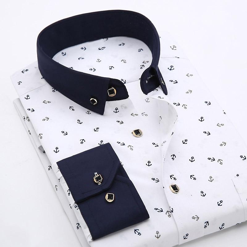 Patchwork Collar floral men's casual shirt Fashion long sleeve Print slim fit soft pocket 4xl male dress shirt 1
