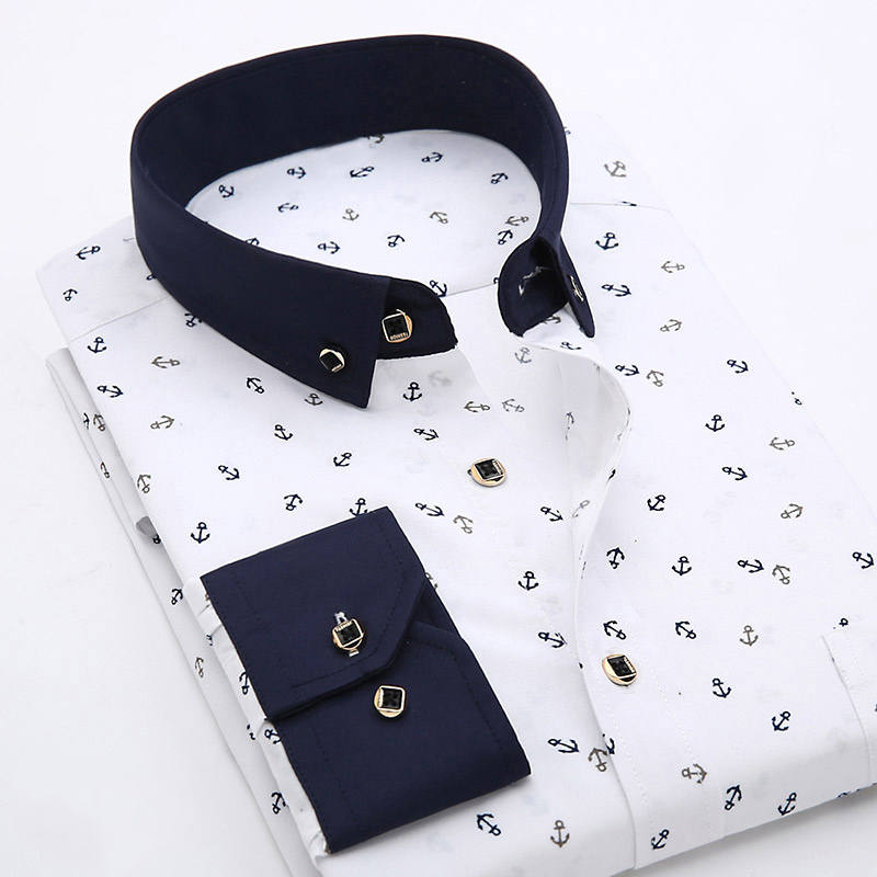 Casual Shirt Pocket Male Dress Collar Slim-Fit Patchwork Long-Sleeve Print Floral Men's