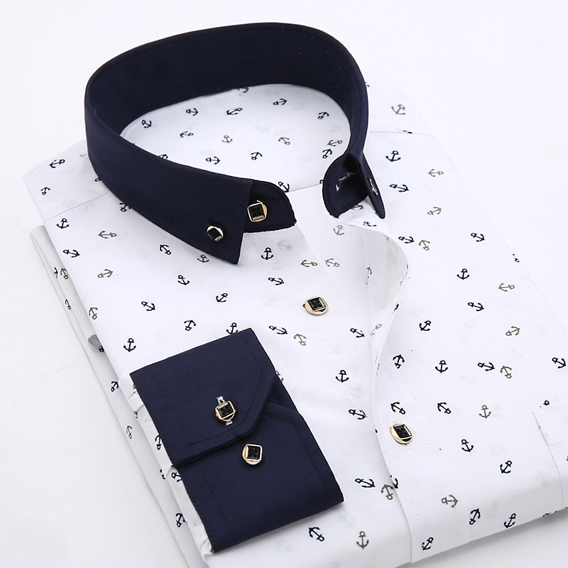 Patchwork Collar Floral Men's Casual Shirt Fashion Long Sleeve Print Slim Fit Soft Pocket 4xl Male Dress Shirt
