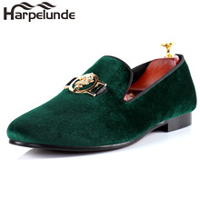 Harpelunde Men Evening Shoes Buckle Red Velvet Loafers Comfortable Flats Size 7-14