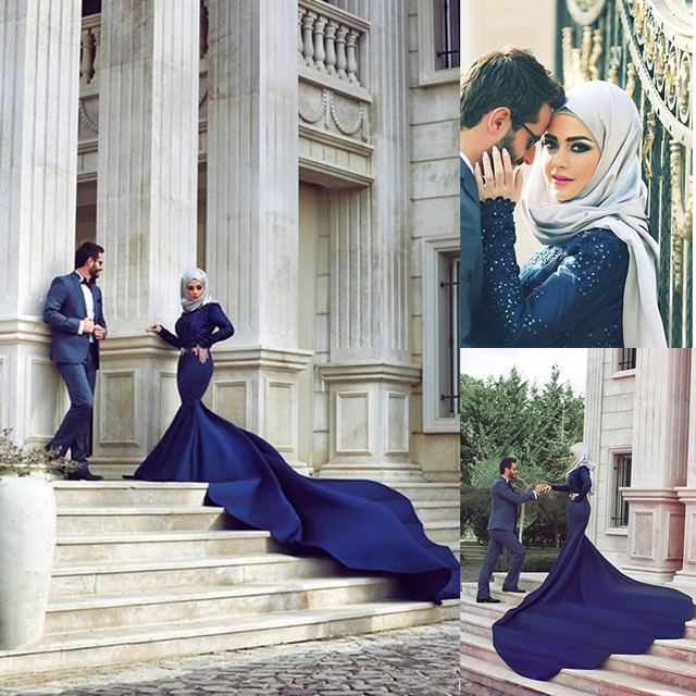 Arabic Designers Wedding Dress Dubai Abaya Kaftan Long Sleeve Beaded Mermaid Royal Blue Indian