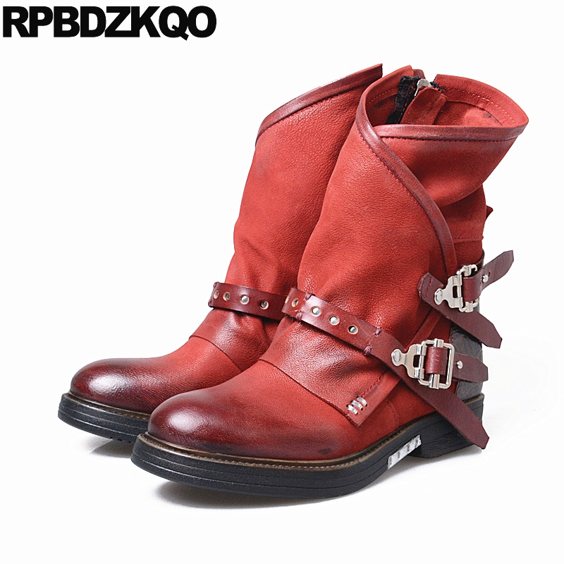 Retro Fur Belts Shoes Genuine Leather Ankle Handmade Metal Flat Sheepskin Round Toe Women Boots Winter 2017 Red Short Fashion farvarwo formal retro buckle chelsea boots mens genuine leather flat round toe ankle slip on boot black kanye west winter shoes