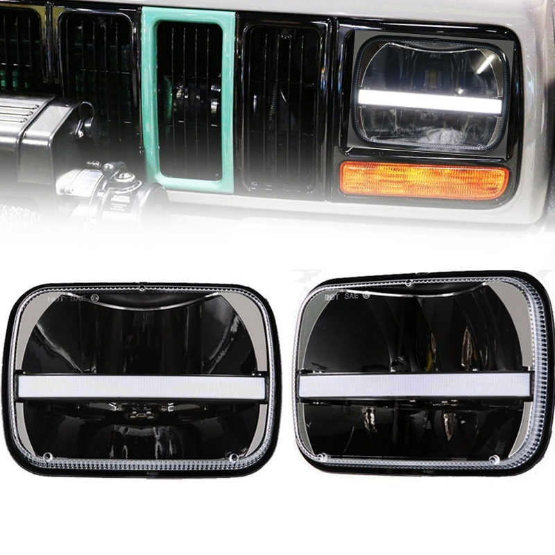 1 Pair Offroad Front Headlamp DRL Turn signal 5x7 square headlight bulb 6x7inch rectangular led truck light for Jeep Cherokee XJ 1 pair 7 inch rectangular led headlight