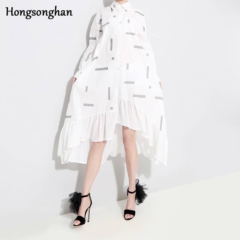 Hongsonghan 2019 Women Spring Summer Dress Boho Style Floral Print Chiffon Beach Loose Ruffles Party Plus Size Tide