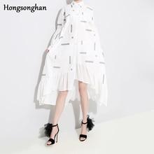 Hongsonghan 2019 Women Spring Summer Dress Boho Style Floral Print Chiffon Beach Loose Ruffles Party Plus Size Tide
