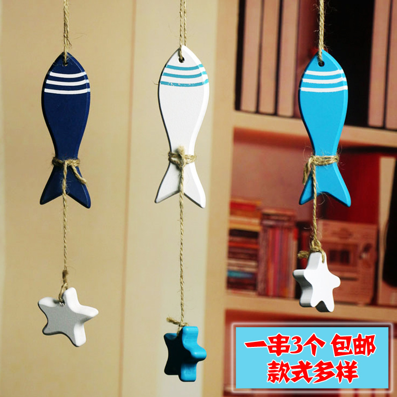 Mediterranean decorations small wooden fish starfish small string of ...